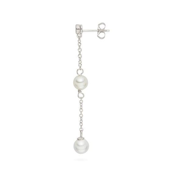 Wiszące   kolczyki z pereł z cyrkonią Pearls Of London Elegance, 5,4 cm