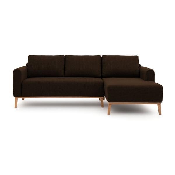 Ciemnobrązowa prawostronna sofa narożna Vivonita Milton