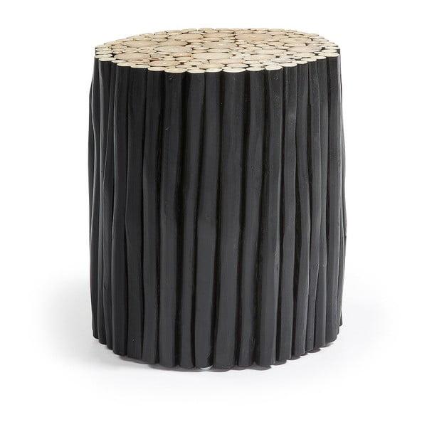 Czarny taboret z drewna tekowego La Forma Filipo, ⌀35cm
