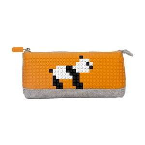 Pikselowy piórnik, szary/pomarańczowy