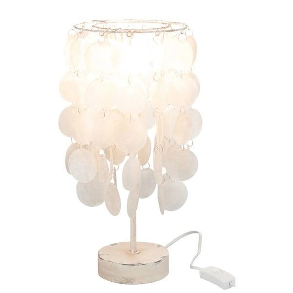 Biała stołowa lampa z muszli J-Line