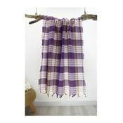 Fioletowy ręcznik w kratę Hammam Traditional Style, 80x175 cm