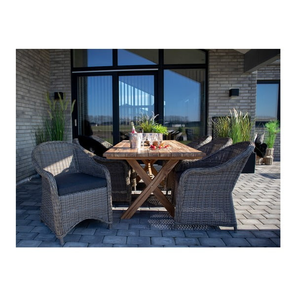 Szary fotel ogrodowy ze sztucznego rattanu z poduszką House Nordic Real