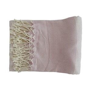 Jasnoróżowy ręcznie tkany ręcznik z bawełny premium Damla,100x180 cm
