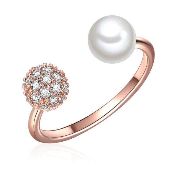 Pierścień w kolorze różowego złota z białą perłą Perldesse Perle, rozm. 54