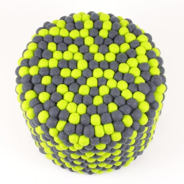 Ręcznie wykonany kulkowy puf Match Point, okrągły