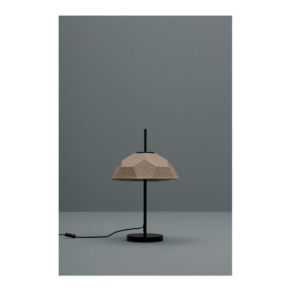 Brązowoszara lampa stołowa z papierowym kloszem z recyklingu Design Twist Mosen