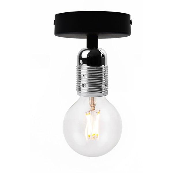 Czarna lampa sufitowa z oprawą żarówki w kolorze srebra Bulb Attack Uno Basic