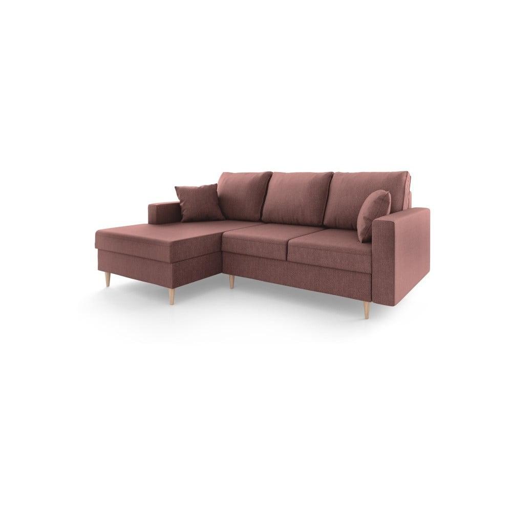 Jasnobordowa sofa rozkładana ze schowkiem Mazzini Sofas Aubrieta, lewostronna