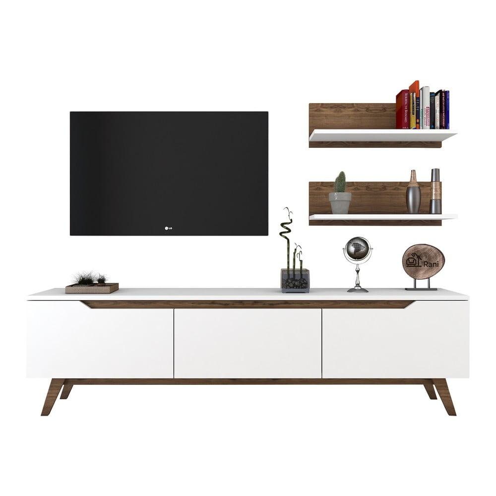 Zestaw białej szafki pod TV i 2 półek Rani