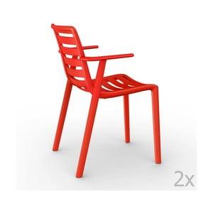 Zestaw 2 czerwonych krzeseł ogrodowych z podłokietnikami Resol Slatkat
