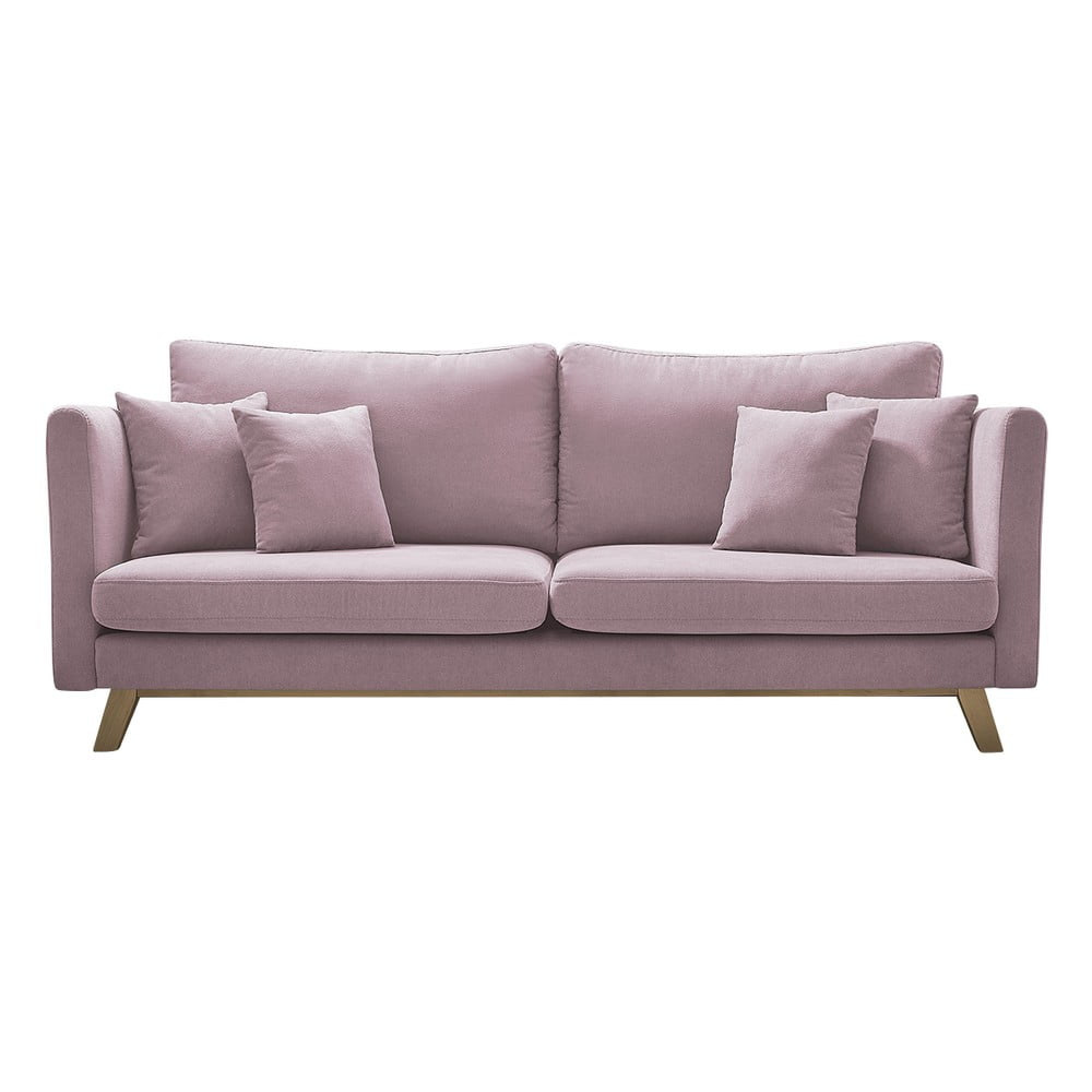 Różowa rozkładana sofa Bobochic Paris Triplo