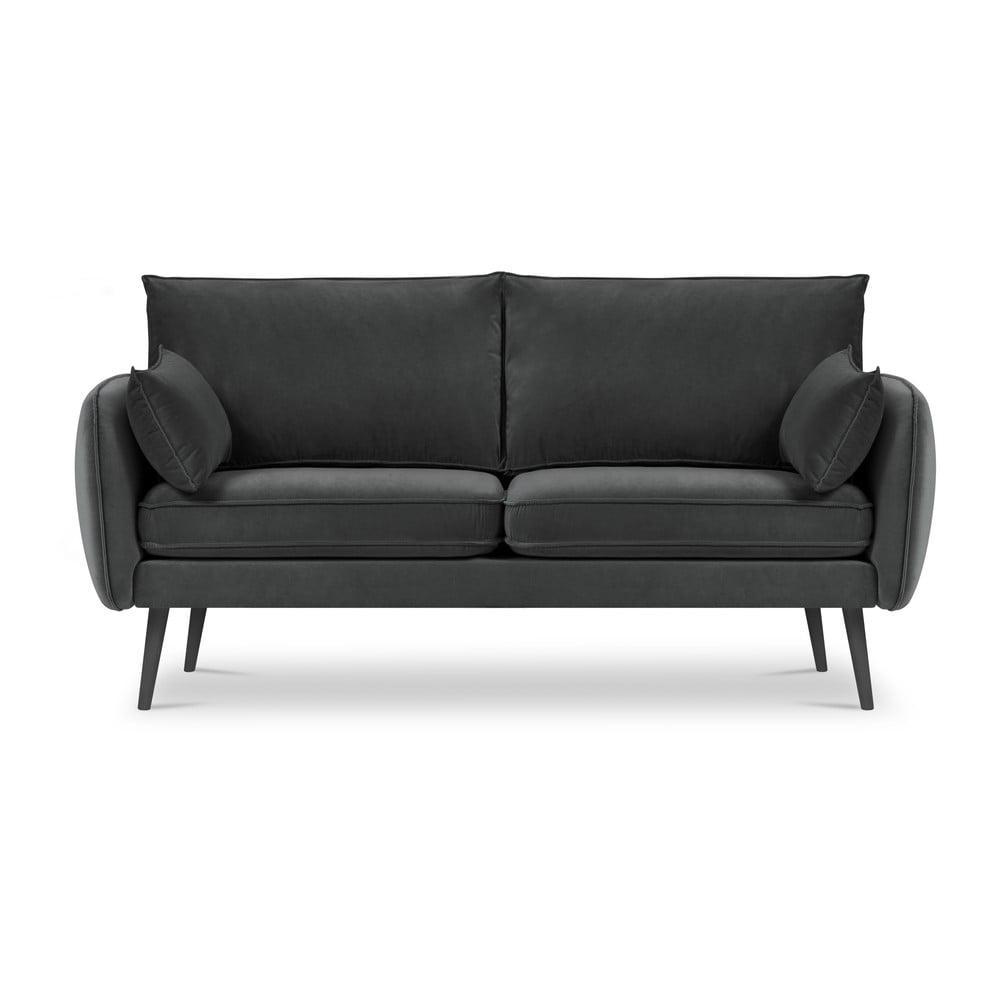 Ciemnoszara aksamitna sofa Kooko Home Lento, 158 cm