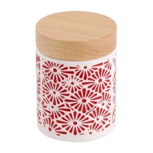Ceramiczny pojemnik Czerwony ornament, 8x8x11 cm