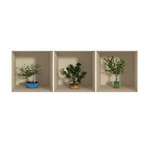 Zestaw 3 naklejek z efektem 3D Fanastick Small Trees