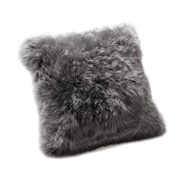 Szara poduszka z owczej wełny Royal Dream Sheepskin, 30x30 cm