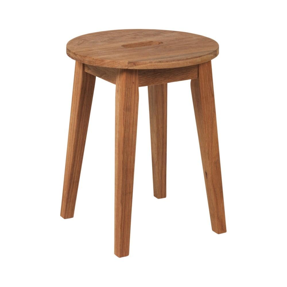 Naturalny niski stołek z drewna dębowego Rowico Frigg