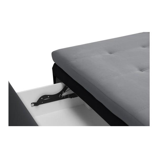 Czarno-grafitowa sofa rozkładana Cachemire