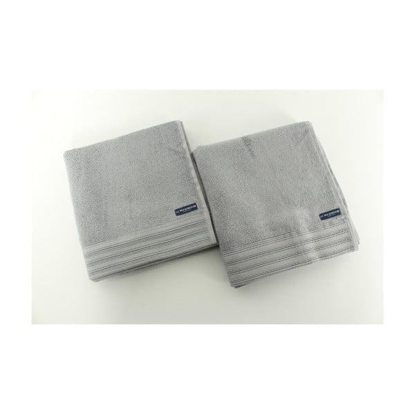 Komplet 2 ręczników Towel US Polo Hand Grey, 50x100 cm