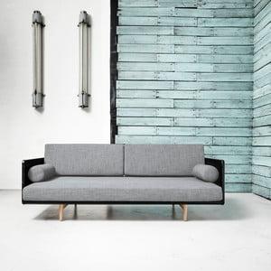 Sofa rozkładana Karup Deva Black/Raw Oak/Light Grey