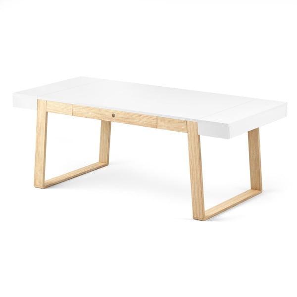 Stół dębowy z białym blatem Absynth Magh, 198 x 100 cm