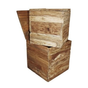 Zestaw 2 skrzynek z drewna tekowego HSM Collection Rustic