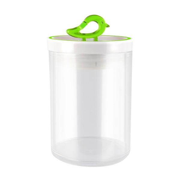 Przezroczysty pojemnik z zielonym detalem Vialli Design Livio, 0,8 l