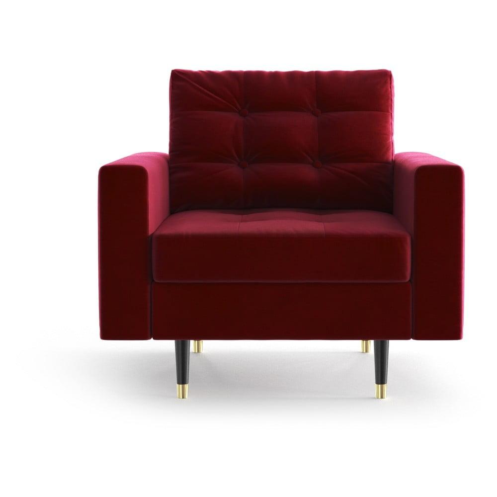 Czerwony aksamitny fotel Daniel Hechter Home Aldo