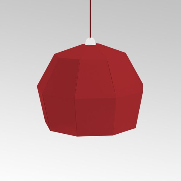 Kartonowa lampa Uno Fantasia A Red, z czerwonym kablem