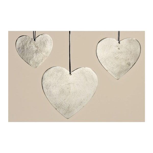 Zestaw 3 wiszących dekoracji Hanger Heart