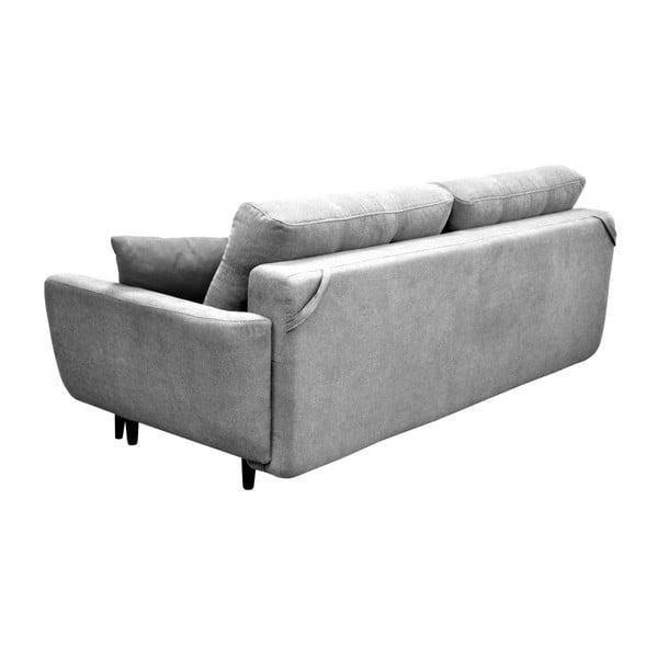 Szara 3-osobowa sofa rozkładana z czarnymi nogami Mazzini Sofas Jasmin