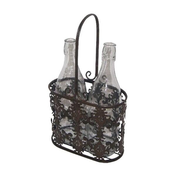 Zestaw 2 szklanych butelek na stojaku Antic