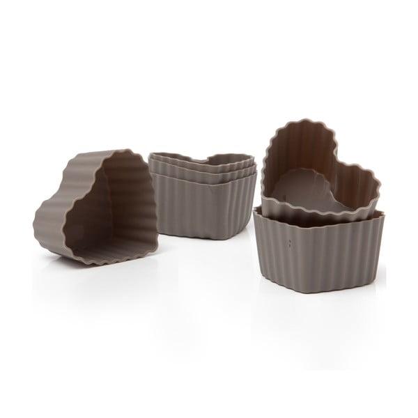Zestaw 6 silikonowych foremek do muffinów Grey Hearts