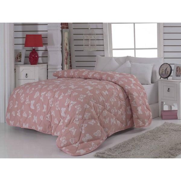 Narzuta pikowana na łóżko dwuosobowe Kelebek Pink, 195x215 cm