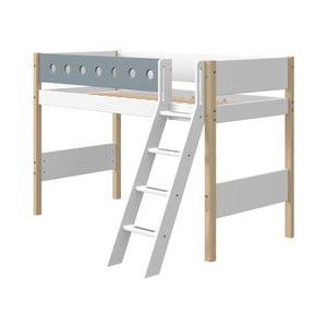Niebiesko-białe dziecięce łóżko z drabinką i z nogami z drewna brzozowego Flexa White, wys. 143 cm