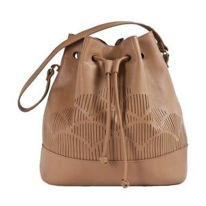 Skórzana torebka na ramię Cut Out, brązowa