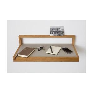 Półka z jasnoszarymi elementami z drewna dębowego das kleine b Buck, 60x15 cm