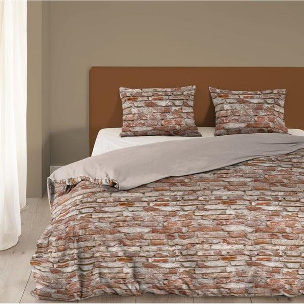 Brązowa bawełniana pościel dwuosobowa Good Mornings Brick, 200x200 cm