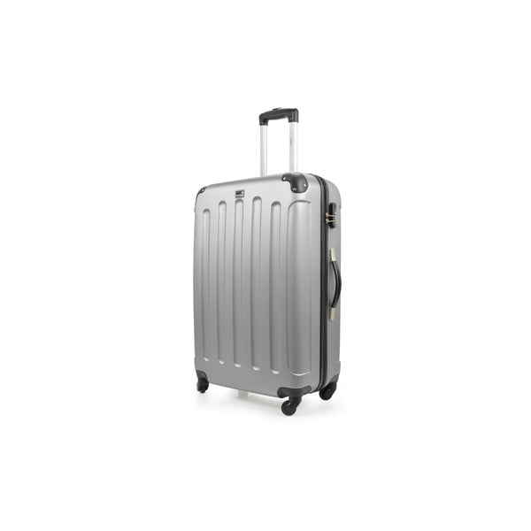 Srebrna walizka na kółkach Bluestar,75l