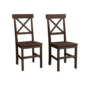 Zestaw 2 ciemnobrązowych krzeseł z drewna sosnowego Støraa Nicoline