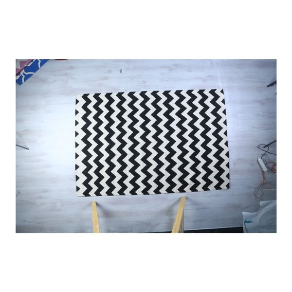 Dywan wełniany Geometry Zic Zac Black & White, 160x230 cm