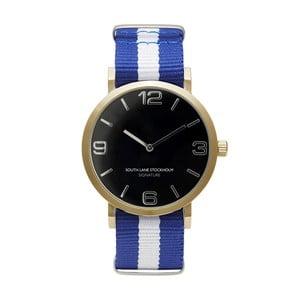 Zegarek unisex z niebiesko-białym paskiem South Lane Stockholm Signature Black Gold Stripes