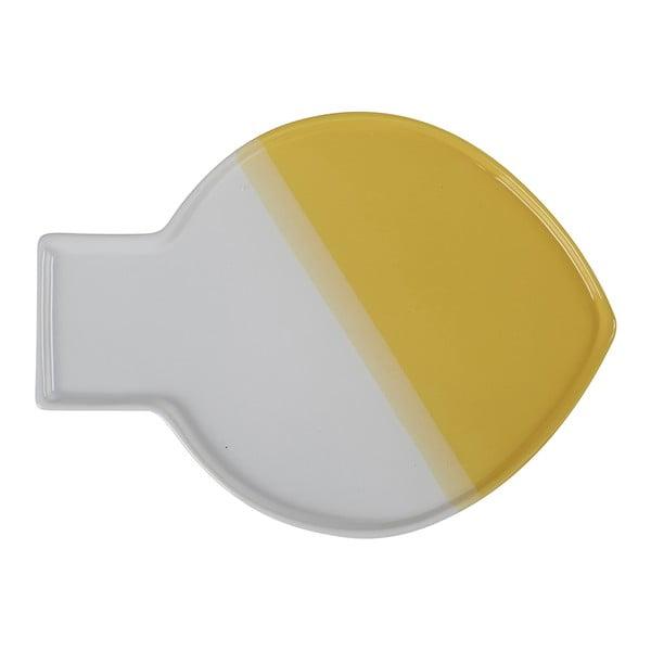 Biało-żółty talerz Athezza Caracas