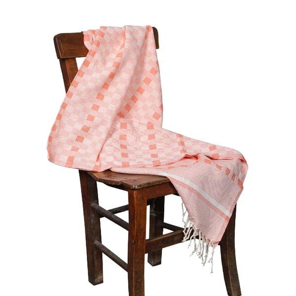 Pomarańczowy ręcznik hammam Hera Orange, 90x190cm