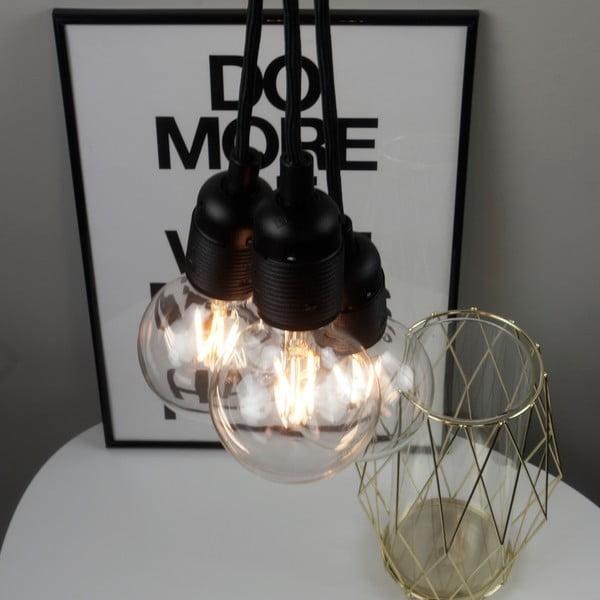 Czarna lampa wisząca z 3 kablami Bulb Attack Uno Group