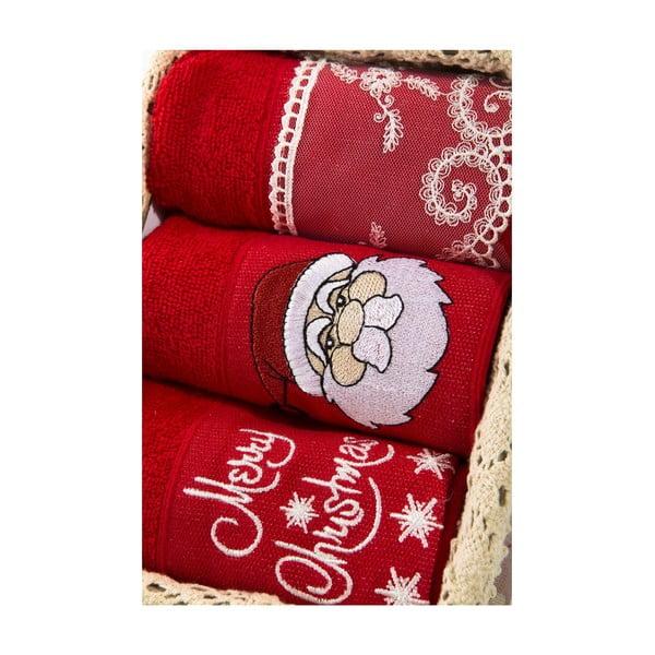 Zestaw 3 ręczników Xmas V1, 30x50 cm