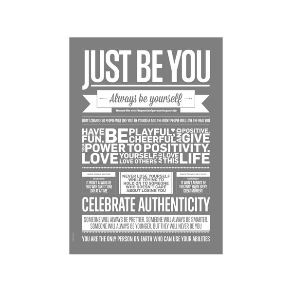 Plakat autorski Just Be You Grey, A3