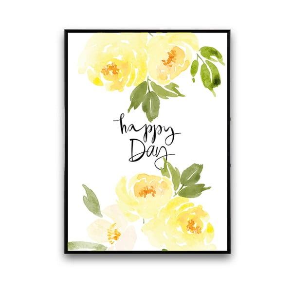 Plakat z żółtymi kwiatami Happy Day, 30 x 40 cm