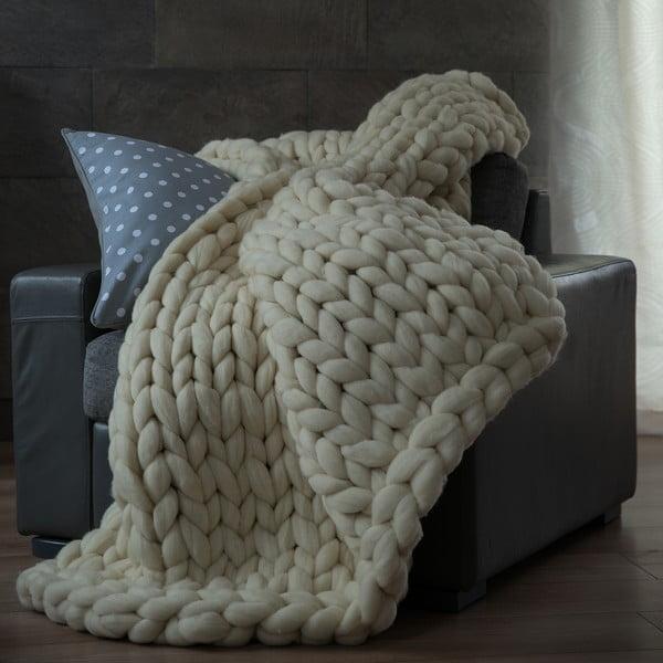 Beżowy ręcznie tkany koc z wełny merynosa WeLoveBeds, 180x140 cm