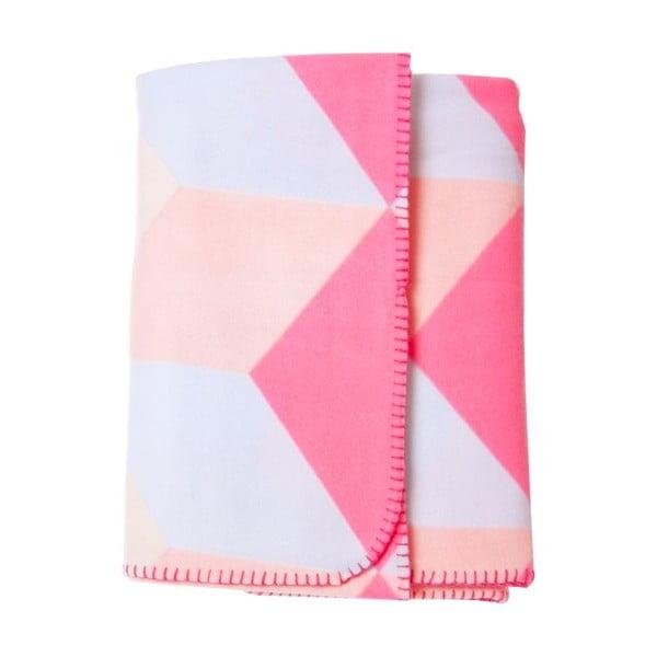 Koc flauszowy Block Pink, 180x150 cm